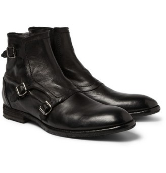 TRIPLE MONK-STRAP WASHED-LEATHER BOOTS